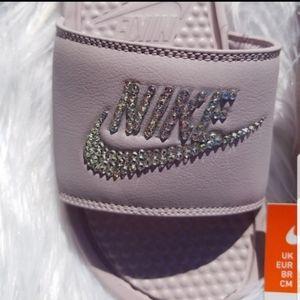 Nike Shoes - Bling Bedazzled Rose Mauve Nike Slide Sandals
